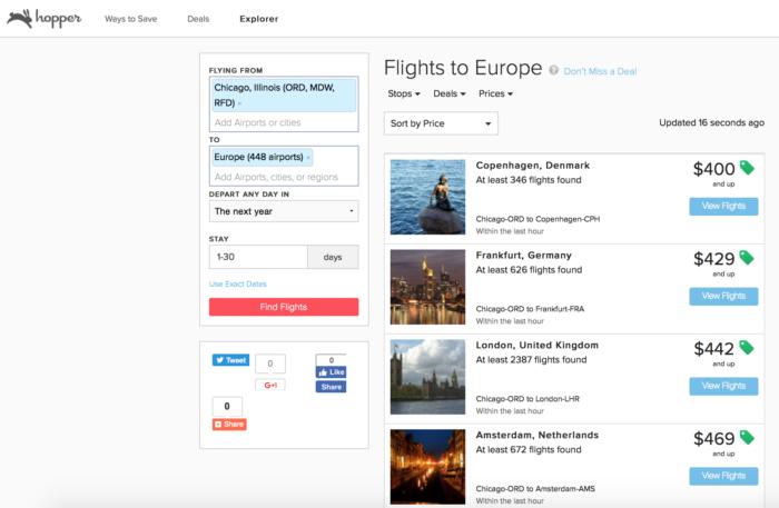 Hopper flight explorer cheap discount flight search tool for Best travel discount websites