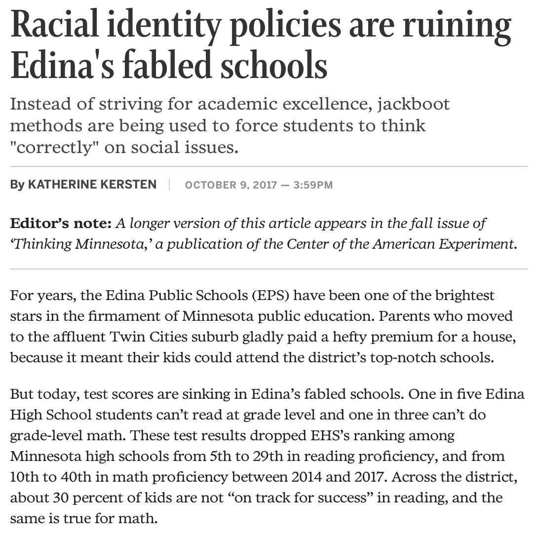 Edina public schools leftism liberalism