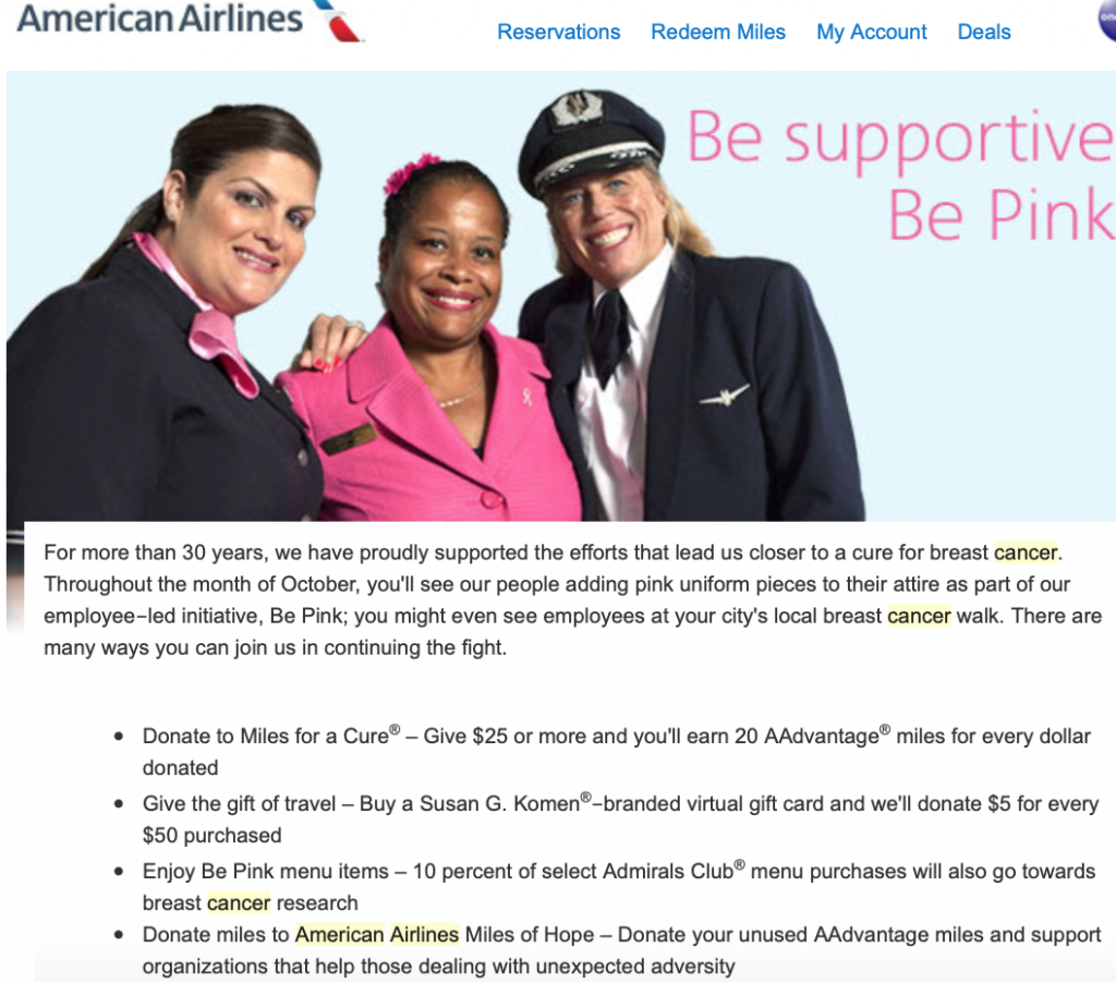 American-miles-for-cancer-donation