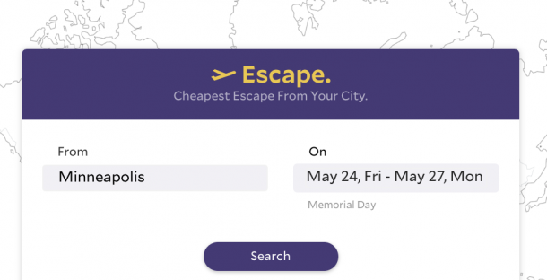Escape:  New Website for Finding Cheap Flights